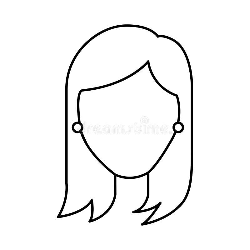 Icône principale de caractère de femme illustration de vecteur
