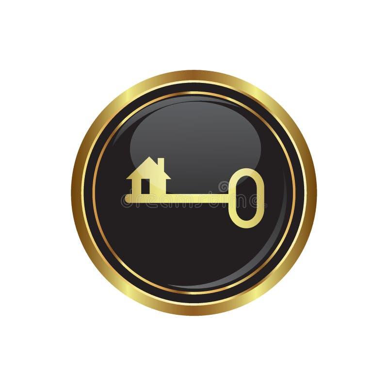 Icône principale sur le noir avec le bouton rond d'or illustration stock