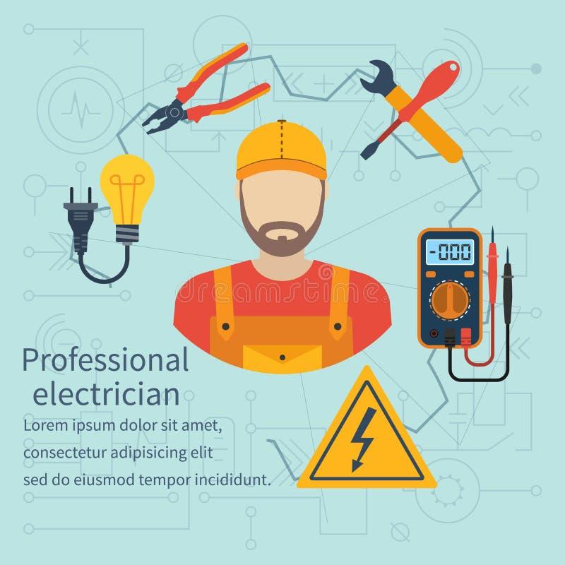 Icône professionnelle d'électricien illustration stock