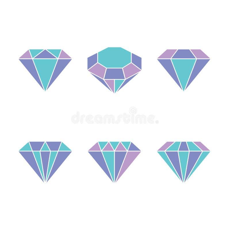 Icône réglée de diamant Illustration de vecteur Signe en cristal brillant Pierre brillante Cristal coloré d'isolement sur le fond illustration libre de droits