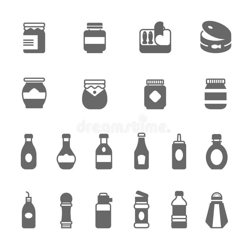 Icône réglée - ketchup illustration de vecteur