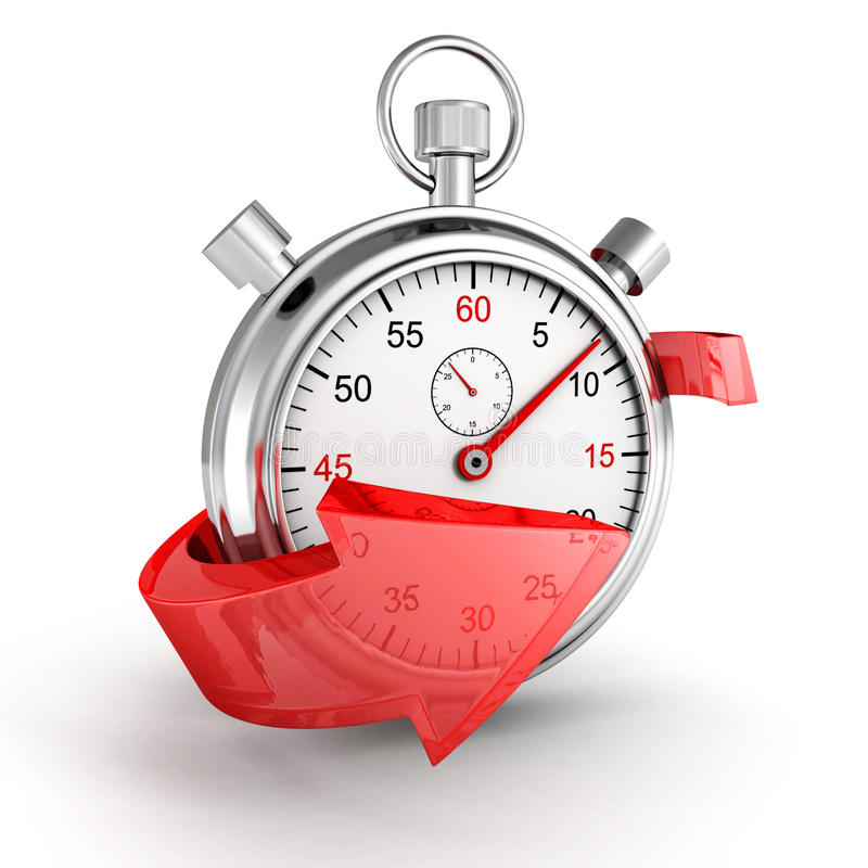 Icône rapide de la livraison. Chronomètre avec la flèche rouge sur un fond blanc illustration de vecteur