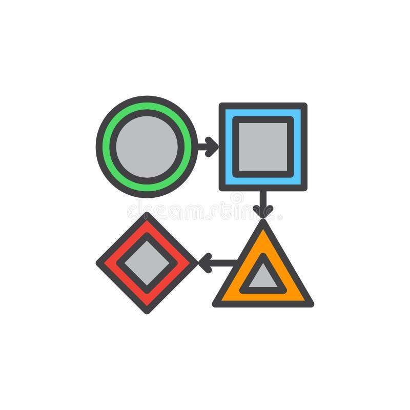 Icône remplie par déroulement des opérations d'ensemble, signe de vecteur illustration de vecteur