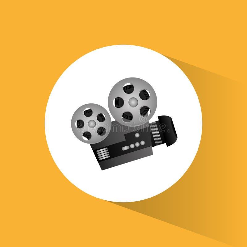 Icône ronde de projecteur de film d'appareil-photo de cinéma illustration de vecteur