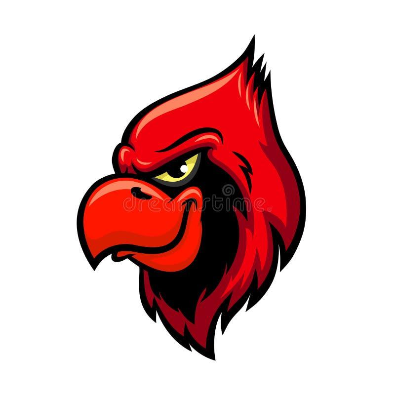 Icône rouge cardinale de vecteur de tête d'oiseau illustration de vecteur