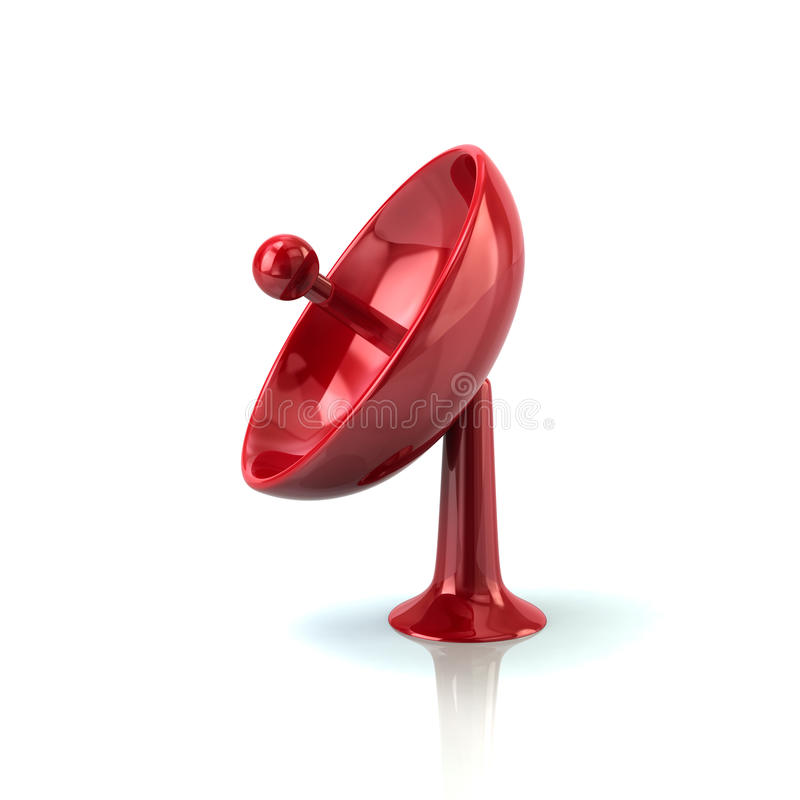 Icône rouge d'antenne de satellite illustration stock
