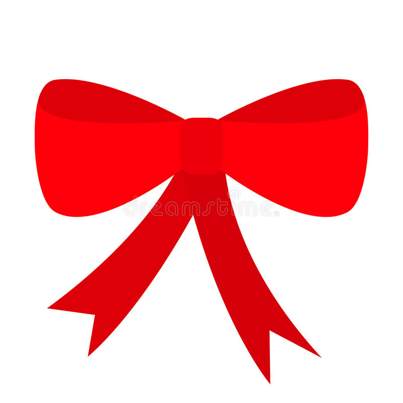 Icône rouge d'arc de Noël de ruban Élément de décoration Conception plate Fond blanc D'isolement illustration libre de droits