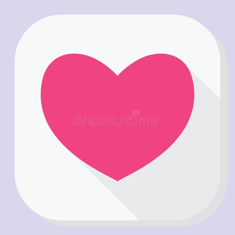 Icône rouge de coeur avec la longue ombre Signe plat simple moderne de forme de sentiments Internet bleu de concept de couleur de illustration stock