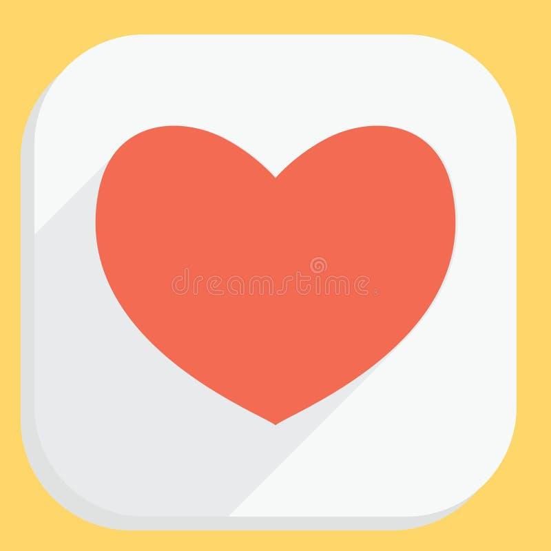 Icône rouge de coeur avec la longue ombre Signe plat simple moderne de forme de sentiments Internet bleu de concept de couleur de illustration de vecteur