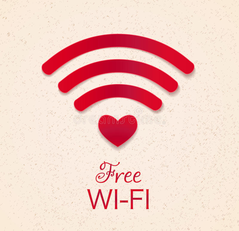 Icône rouge de Wi-Fi avec la forme de coeur comme accès de point conne gratuit de wifi illustration stock