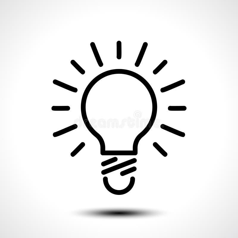 Icône rougeoyante d'ampoule sur le fond blanc illustration stock