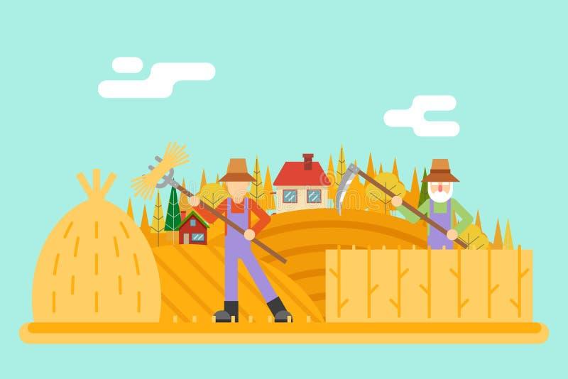 Icône rurale de récolte de moissonneur de foin d'automne dessus illustration stock