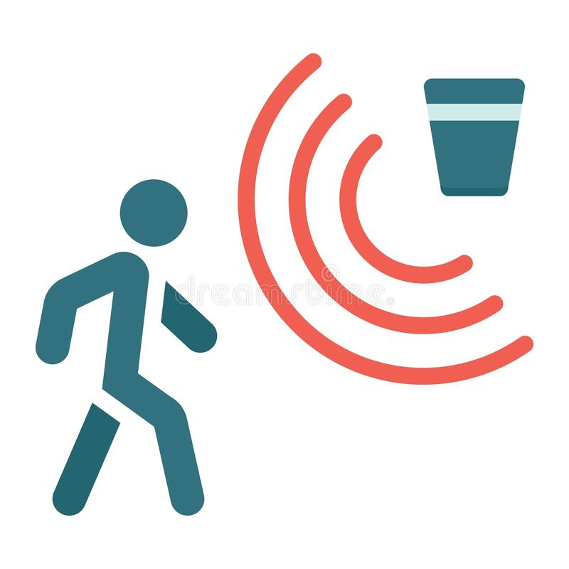 Icône, sécurité et garde plates de détecteur de mouvement illustration libre de droits
