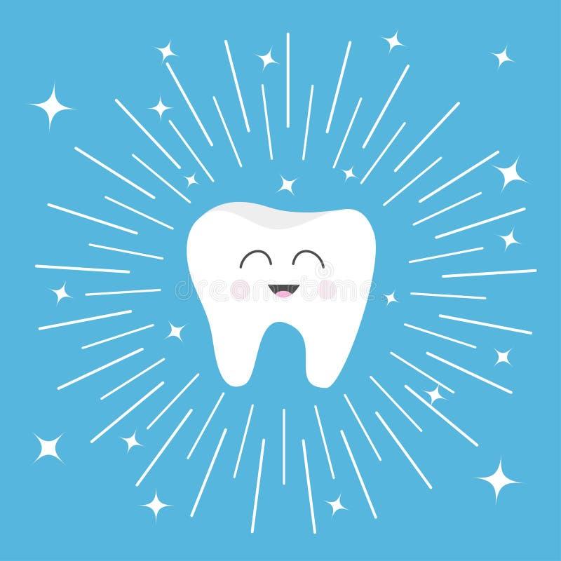 Icône saine de dent avec le visage de sourire Personnage de dessin animé mignon Ligne ronde cercle Hygiène dentaire orale Soin de illustration stock