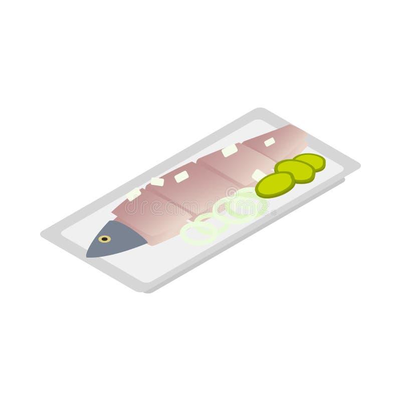 Icône salée néerlandaise d'harengs, style 3d isométrique illustration de vecteur