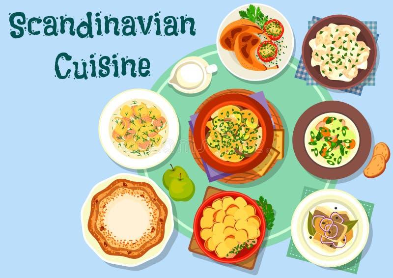 Icône scandinave de plats de poissons et de viande de cuisine illustration stock