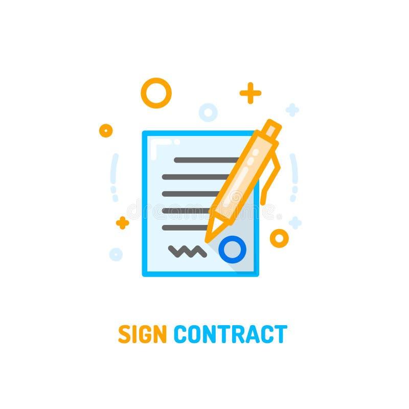 Icône signée de contrat illustration libre de droits