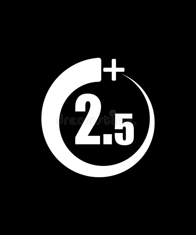 2 5+ ic?ne, signe Ic?ne de l'information pour la limite d'?ge - illustration de vecteur Fond noir illustration libre de droits