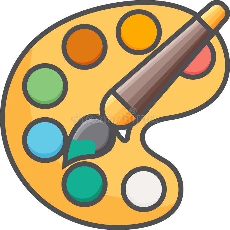 Icône simple artistique et de passe-temps de vecteurde FlatPallette avec la brosse et les aquarelles Icône plate de style pixe illustration de vecteur