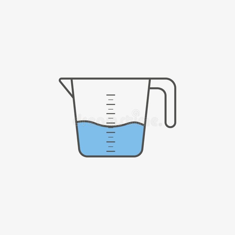 Icône simple de tasse de mesure de vaisselle de cuisine dans le style plat Illustration de vecteur illustration de vecteur