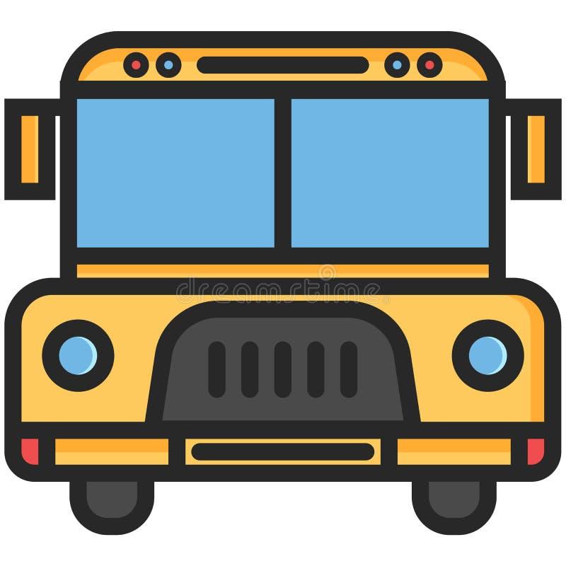 Icône simple de vecteur d'un autobus scolaire dans le style plat Pixel parfait Élément d'éducation de base Outil d'école et de bu illustration de vecteur