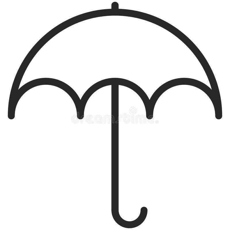 Icône simple de vecteur d'un parapluie dans style de schéma Pixel parfait illustration libre de droits