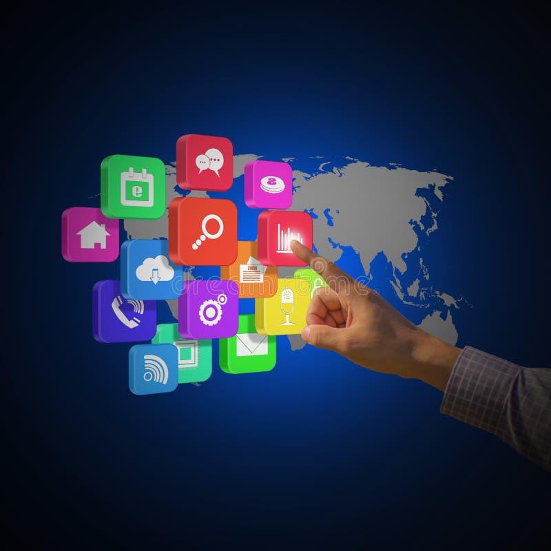 Icône sociale émouvante de réseau d'homme d'affaires illustration libre de droits