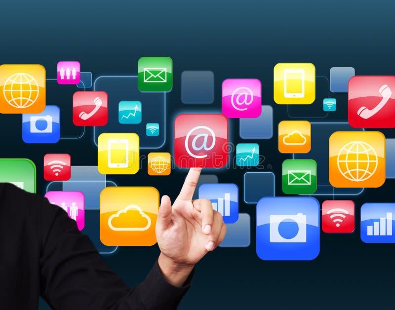 Icône sociale d'application photos stock