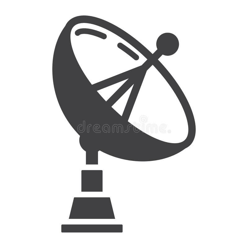Icône solide, antenne et radar d'antenne parabolique illustration libre de droits