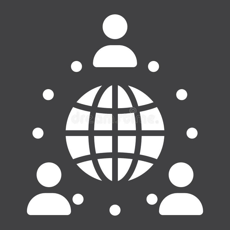 Icône solide d'association globale, affaires illustration libre de droits