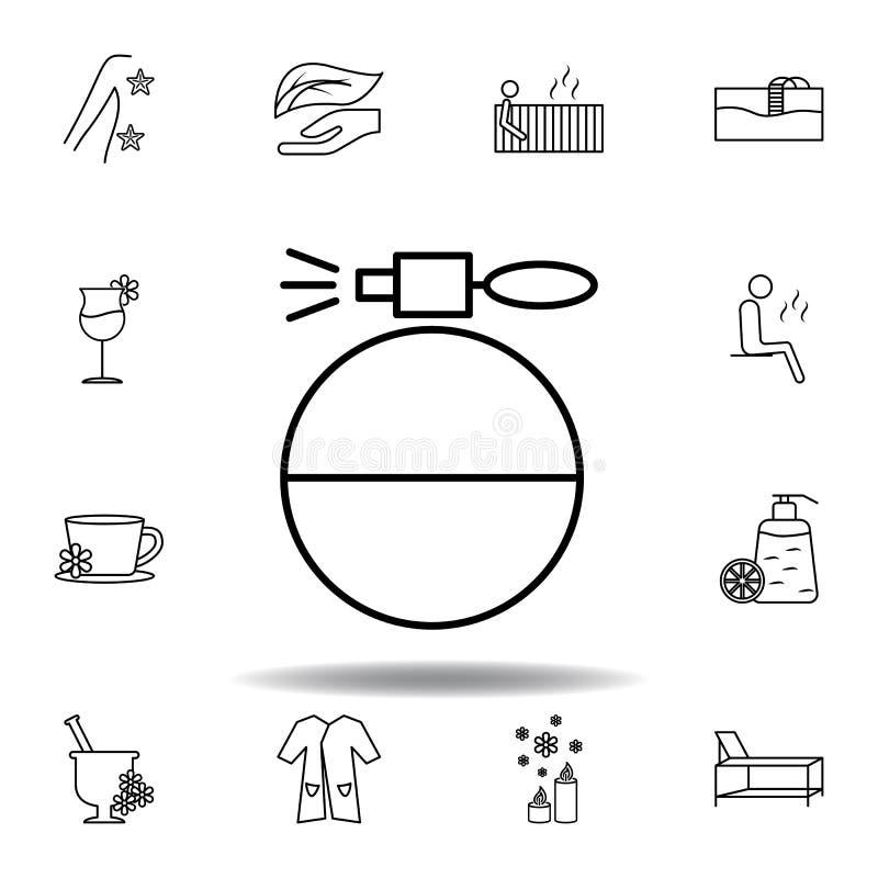 Ic?ne sph?rique d'ensemble de bouteille de jet de parfum Ensemble détaillé de station thermale et détendre l'icône d'illustration illustration stock