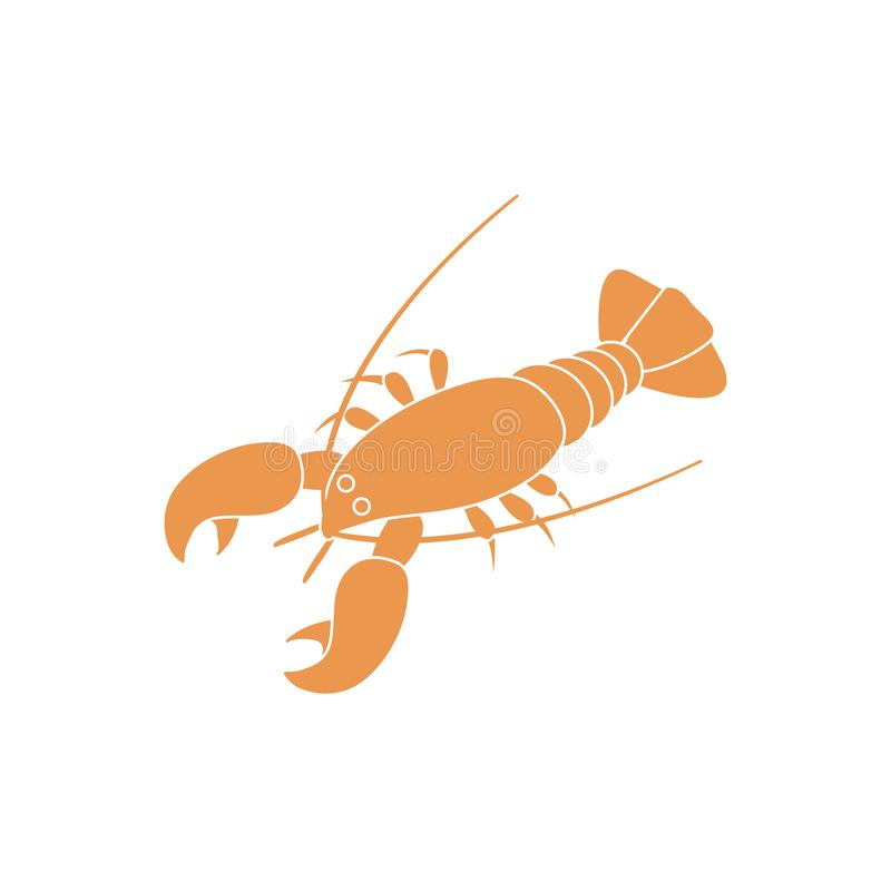 Ic?ne stylis?e d'un homard color? sur un fond blanc illustration stock