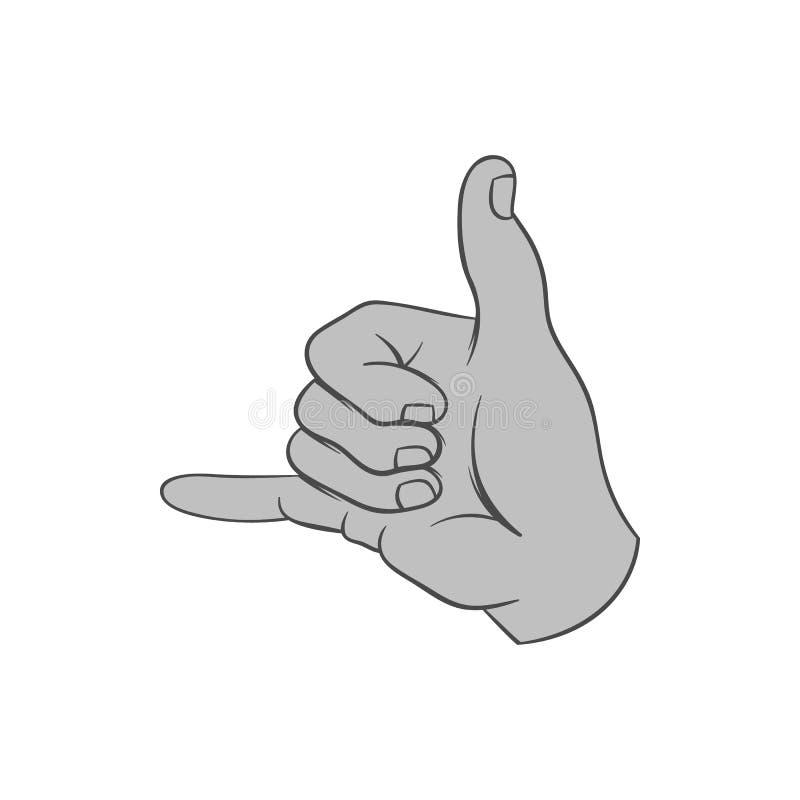 Icône surfante de geste, style monochrome noir illustration libre de droits