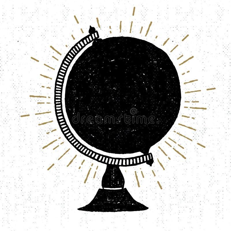 Icône texturisée tirée par la main avec l'illustration de vecteur de globe illustration de vecteur
