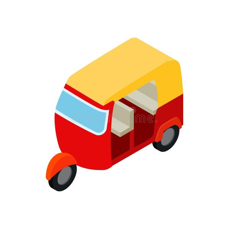 Icône thaïlandaise de tuktuk de taxi, style 3d isométrique illustration de vecteur