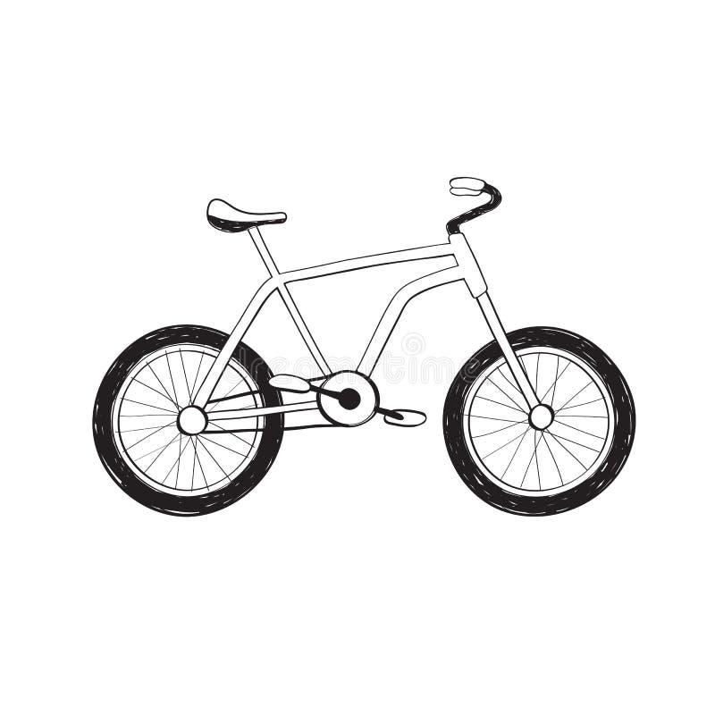 Icône tirée par la main de bycicle illustration de vecteur