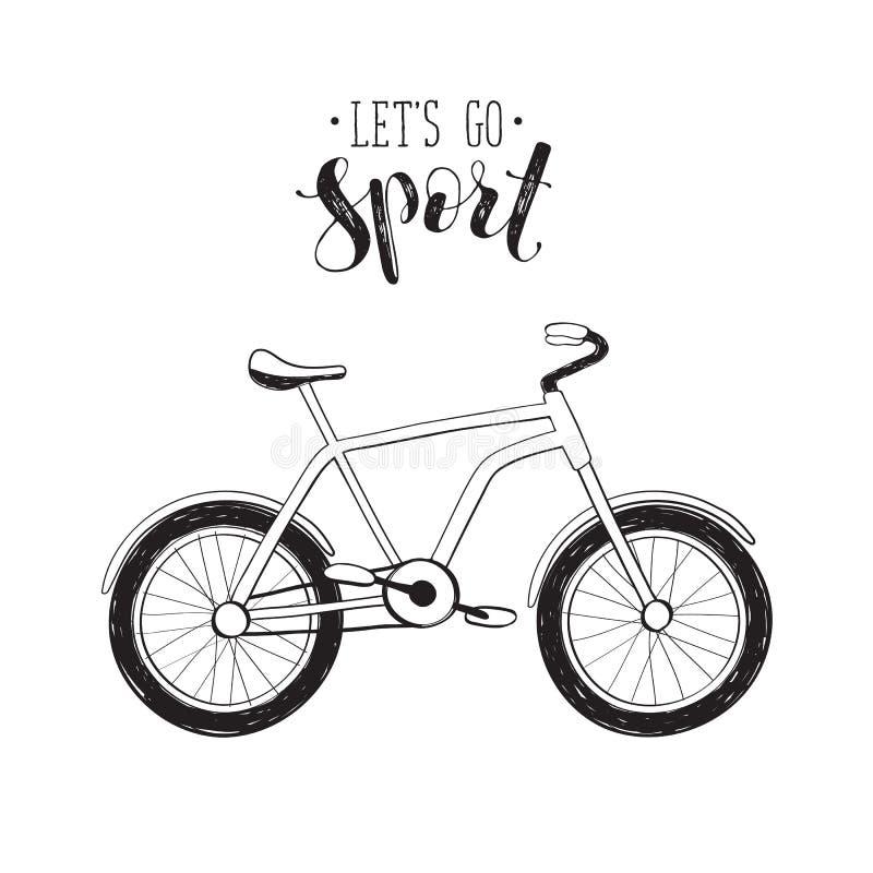 Icône tirée par la main de bycicle illustration stock