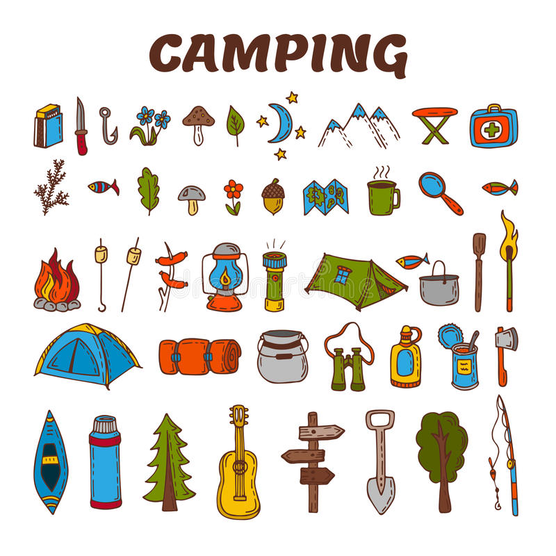Icône tirée par la main de camping réglée en couleurs Collection du camping et illustration de vecteur