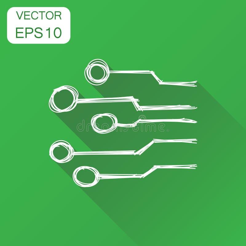 Icône tirée par la main de carte Schem de technologie de concept d'affaires illustration libre de droits