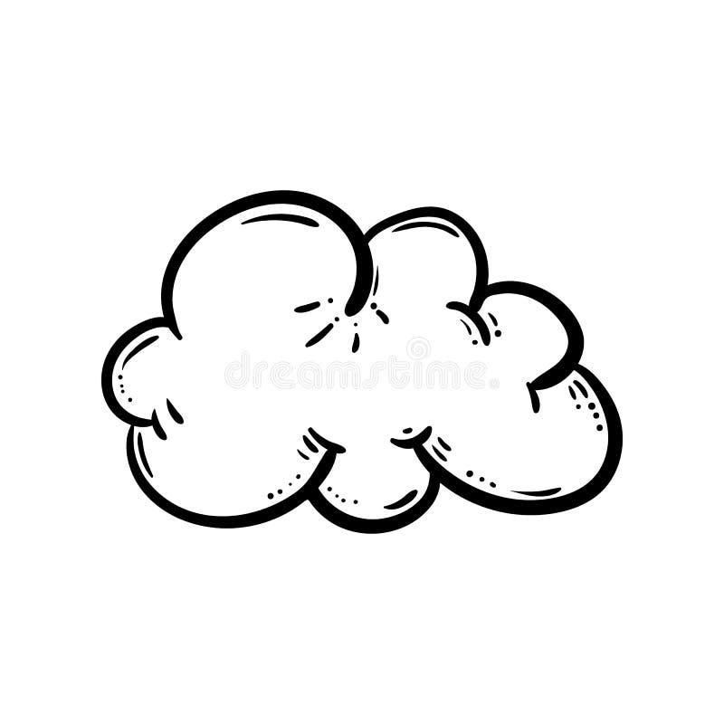 Ic?ne tir?e par la main de griffonnage de nuage Croquis noir tir? par la main symbole de signe ?l?ment de d?coration Fond blanc D illustration de vecteur