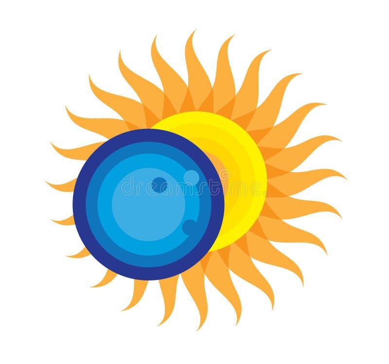 Icône totale d'éclipse solaire le 21 août 2017 illustration libre de droits