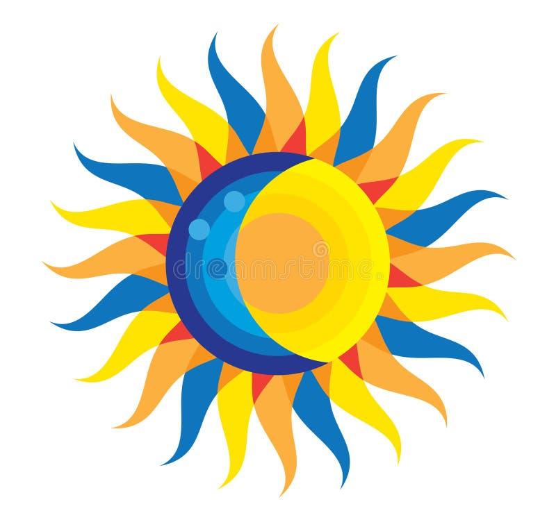 Icône totale d'éclipse solaire le 21 août 2017 illustration de vecteur