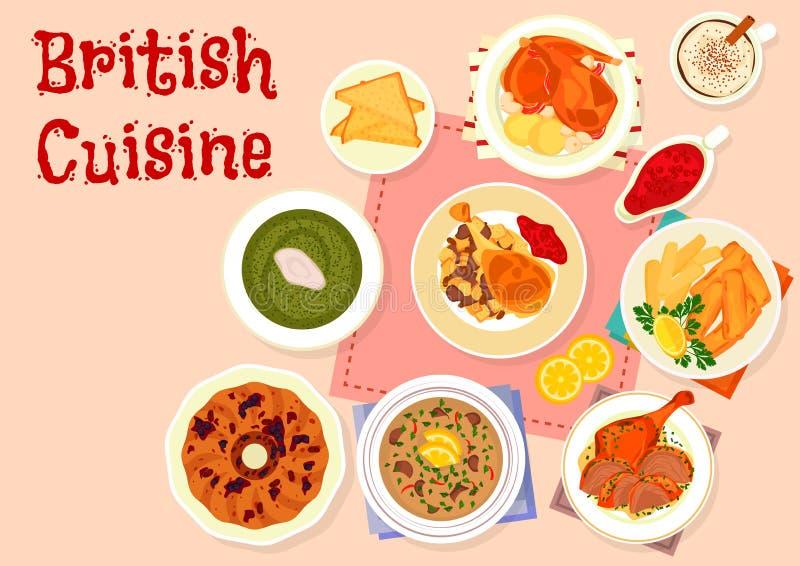 Icône traditionnelle de menu de dîner de cuisine britannique illustration de vecteur