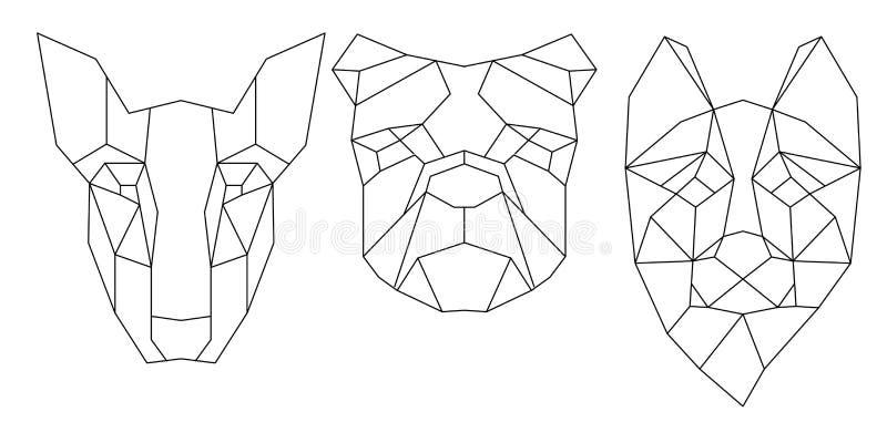 Icône triangulaire de tête de chien, ligne à la mode géométrique illustration libre de droits
