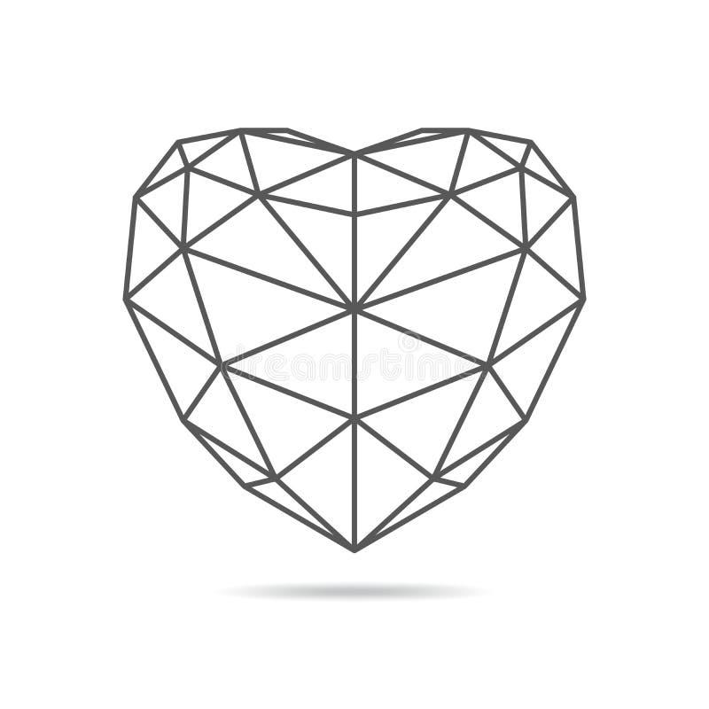 Icône triangulaire noire de coeur Illustration de vecteur illustration de vecteur