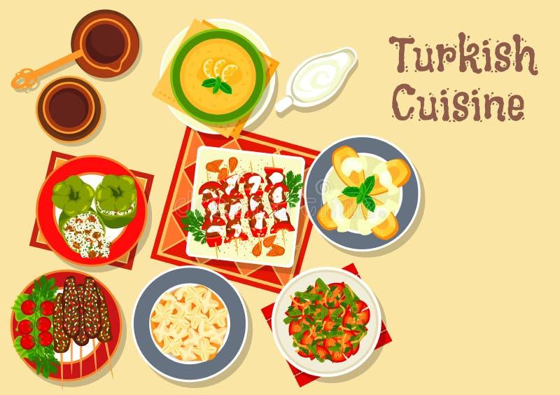 Icône turque de cuisine avec le chiche-kebab grillé de viande illustration libre de droits