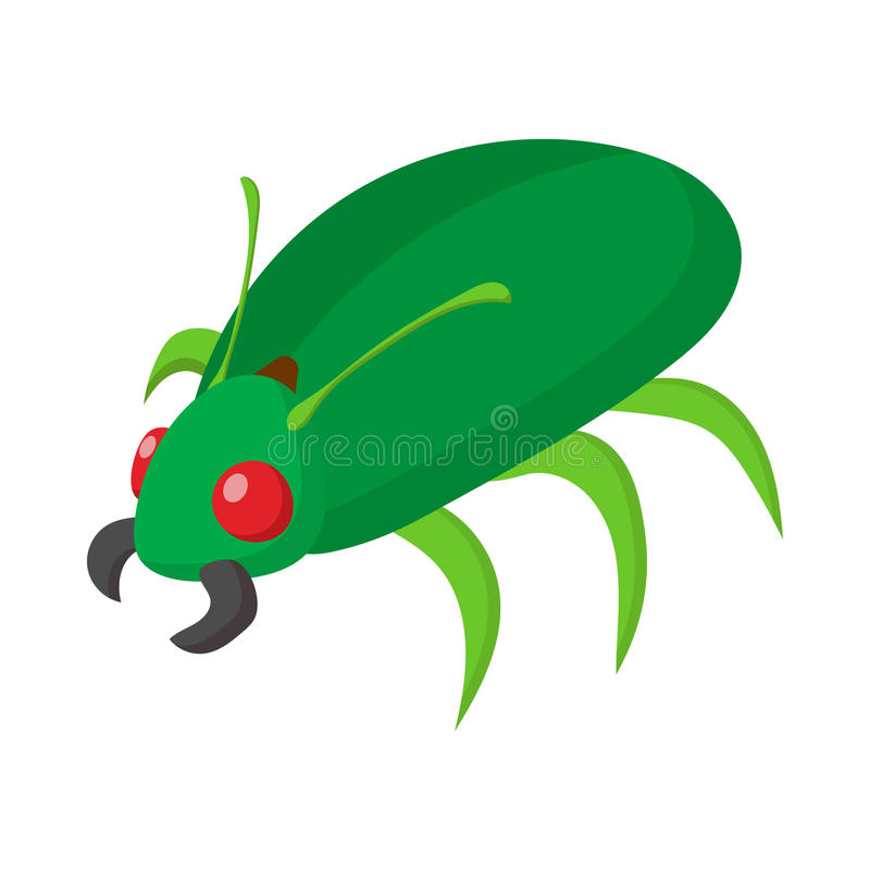 Icône verte d'insecte, style de bande dessinée illustration stock