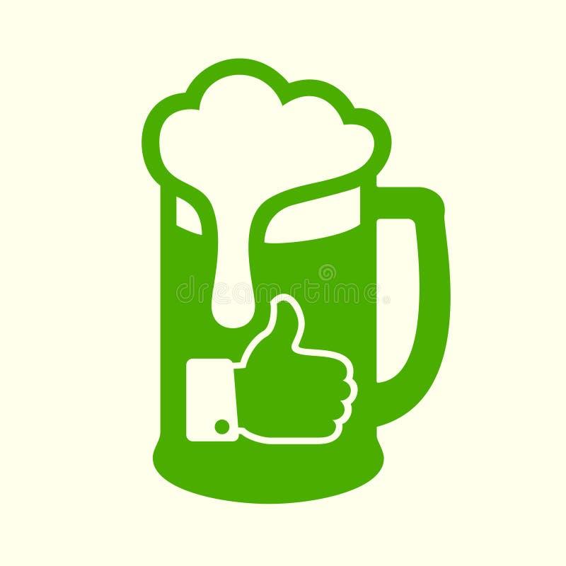 Icône verte de bière illustration de vecteur