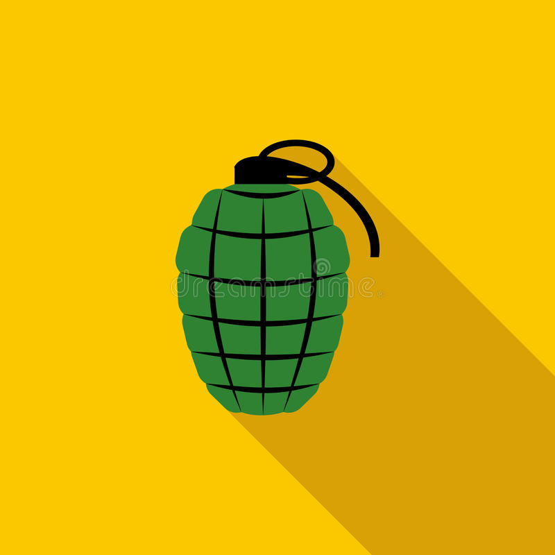 Icône verte de grenade à main, style plat illustration stock