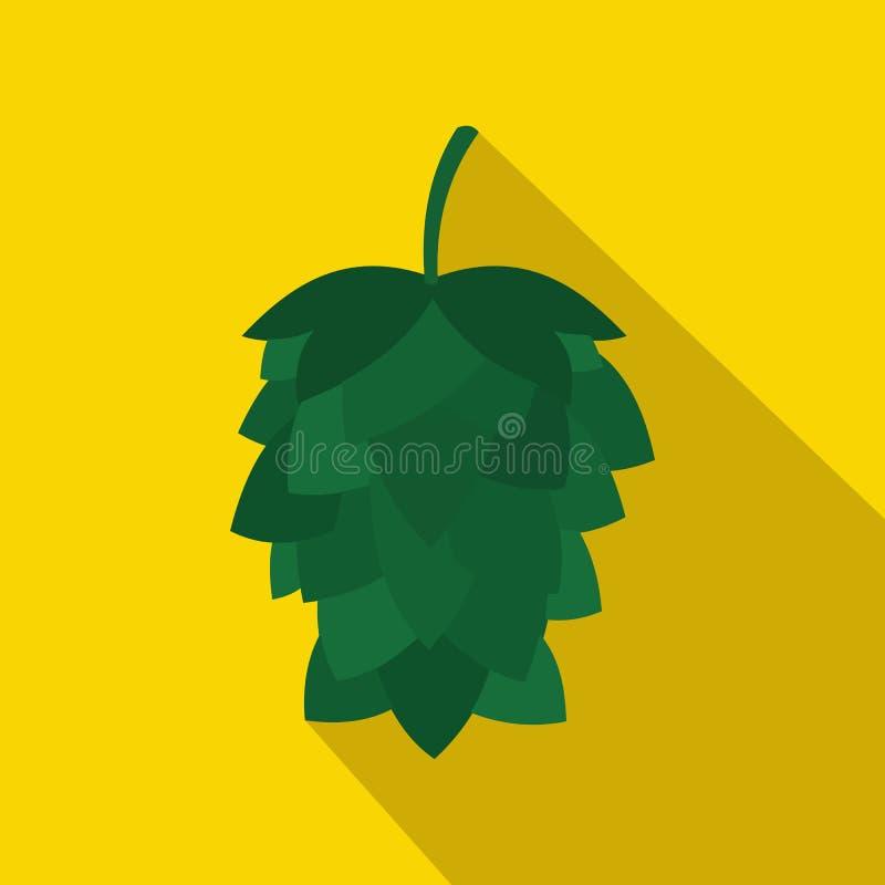 Icône verte de houblon en cônes dans le style plat illustration stock